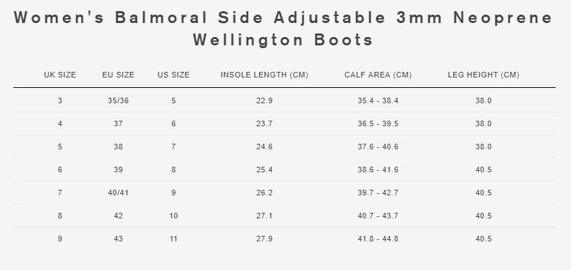 Women's balmoral side adjustable 3mm neoprene wellington boots size guide