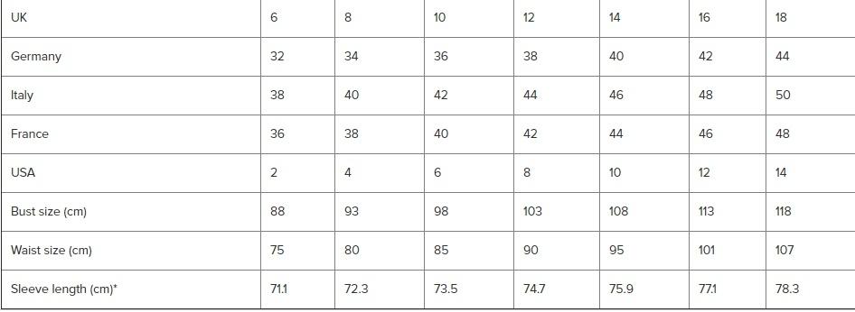 Womens coat size chart