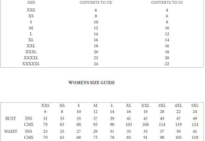 Brakeburns womens size guide