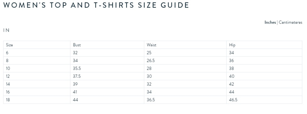 Crew Clothing womens top size guide