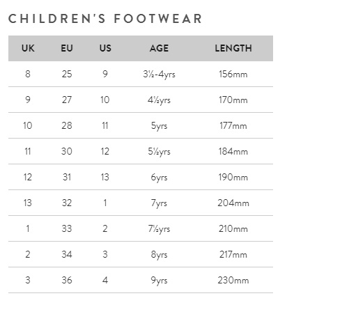 Joules childrens footwear size guide