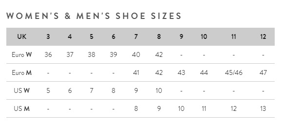 joules footwear men and women size guide