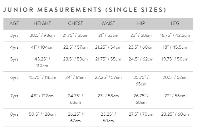 Junior measurements (single sizes) size guide
