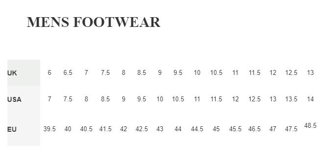 Mens Berghaus footwear size guide