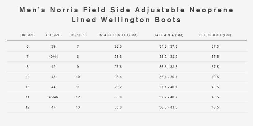 Mens Norris side adjust boots size guide