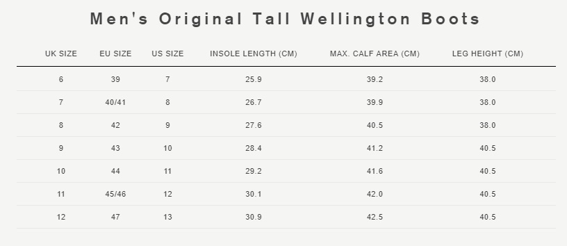 Men's original tall wellington boots size guide