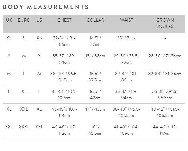Joules mens size guide