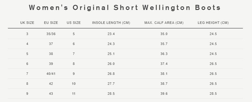 Women's original short wellington boots size guide