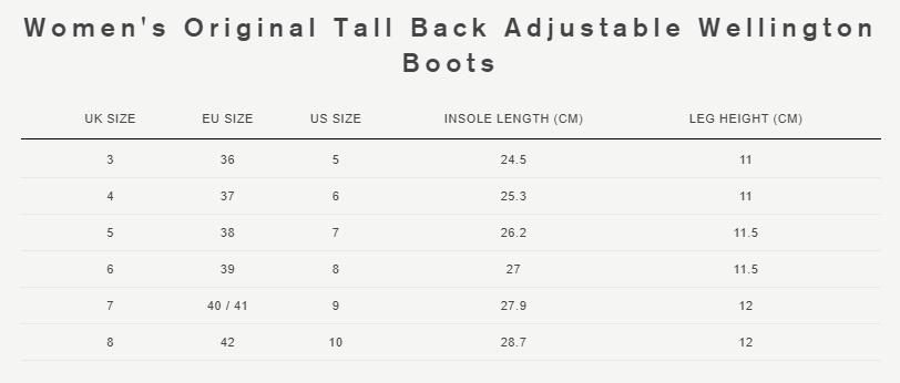 Original Back Adjustable boot size guide
