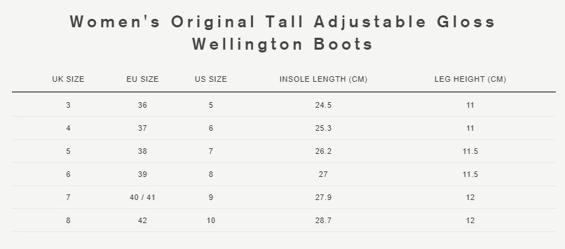 Women's original tall adjustable gloss wellington boots size guide