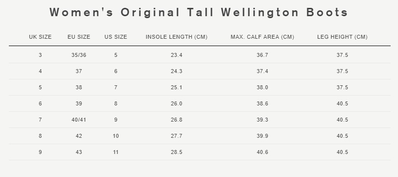 Women's original tall wellington boots size guide