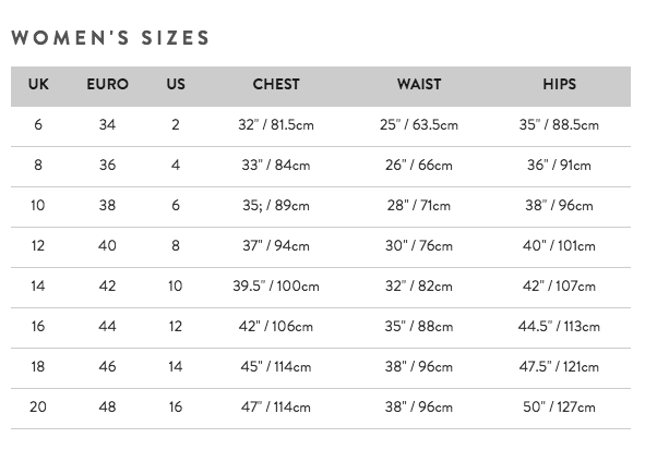 Women's sizes guide