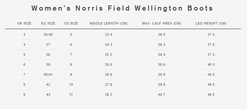 Women's norris field wellington boots size guide
