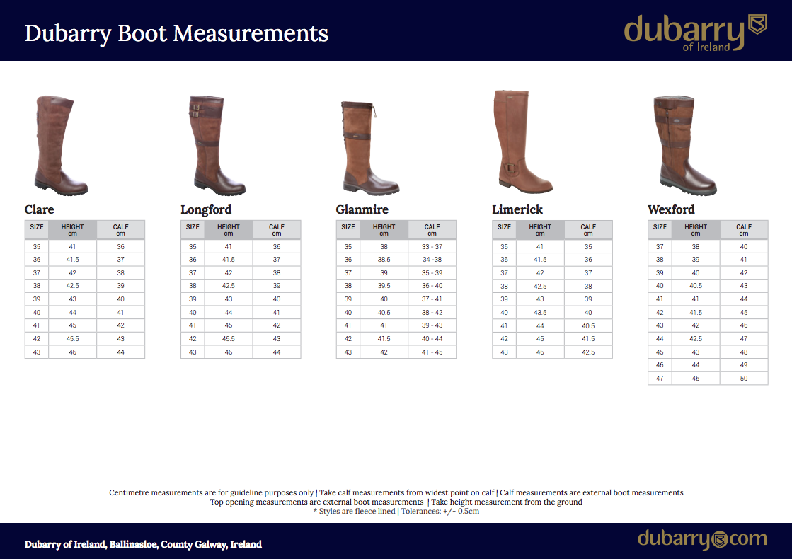 Dubarry boot size guide