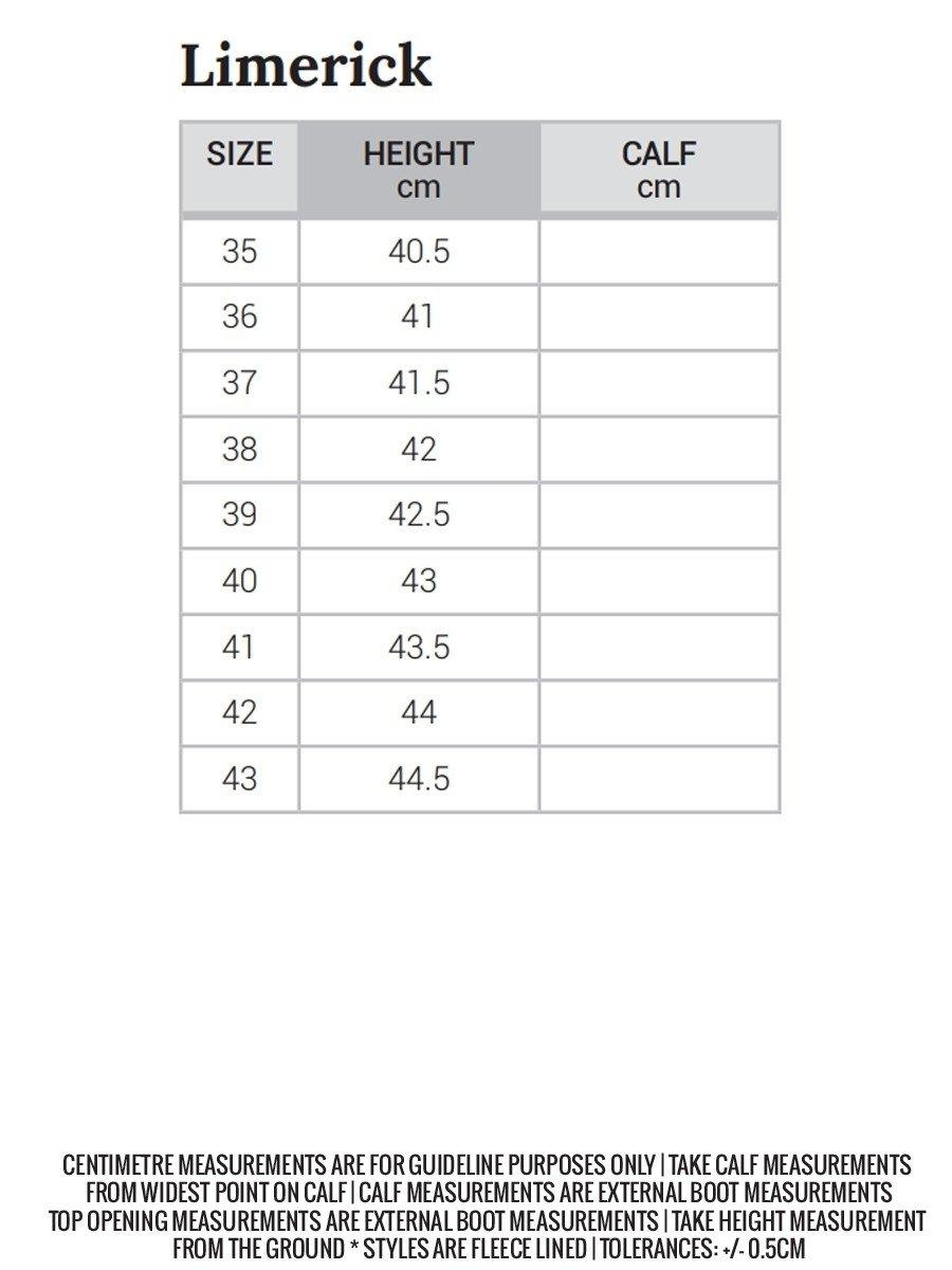 Limerick size chart