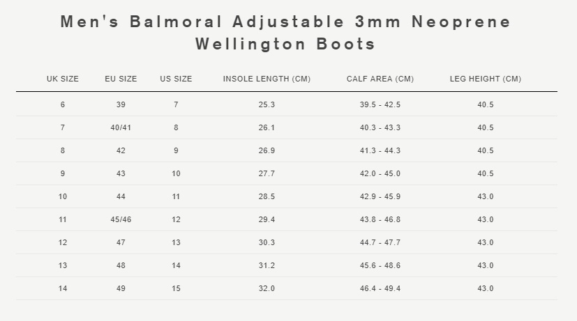 Men's balmoral adjustable 3mm neoprene wellington boots size guide