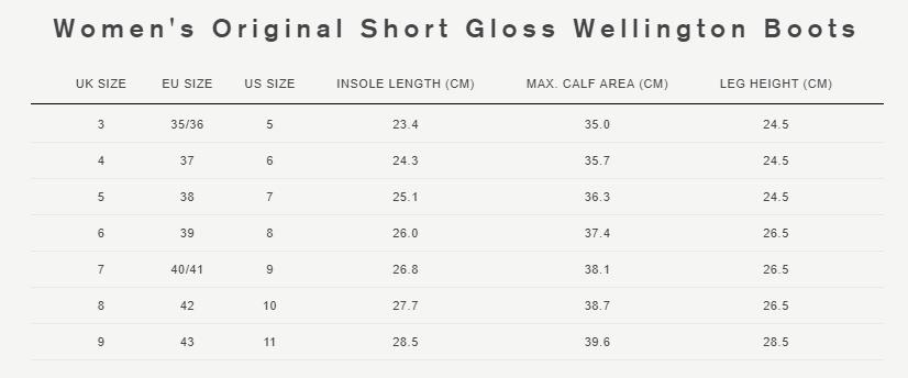 Women's original short gloss wellington boots size guide