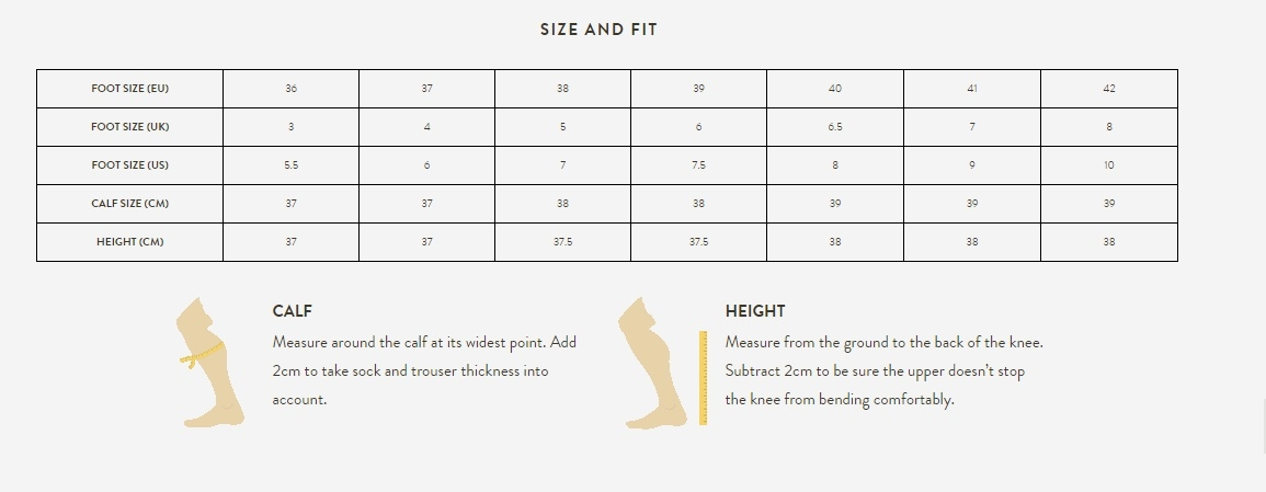 Size and fit size guide