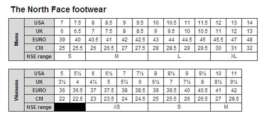 The North Face footwear size guide