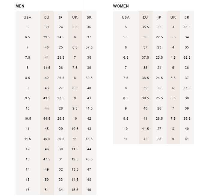 Men and women size guide