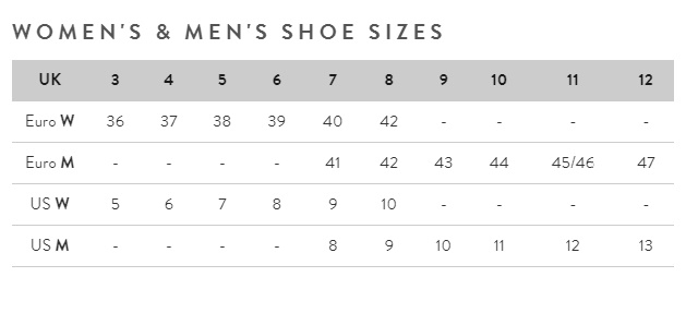 Women's and men's shoe sizes guide